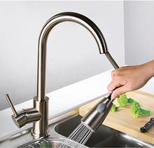 Modern High Arch Lead-Free Stainless Steel Single Lever Single Handle Prep Sink Pull Down Sprayer Kitchen Sink Faucet,Brushed
