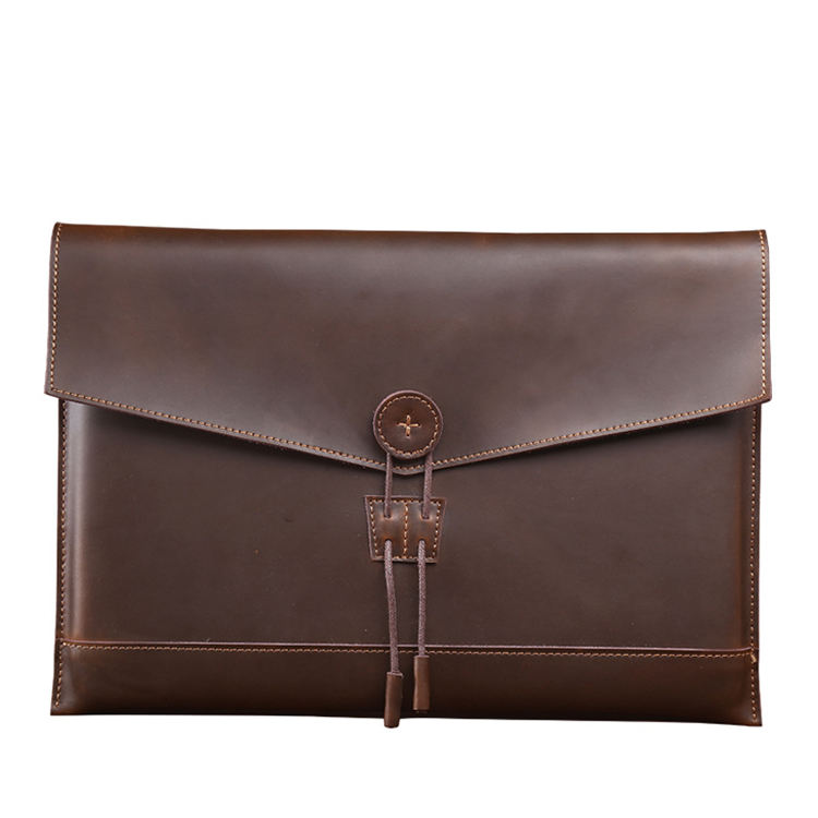 Custom high quality protector tablet bag clutch bag business men 13 inch genuine leather laptop sleeve