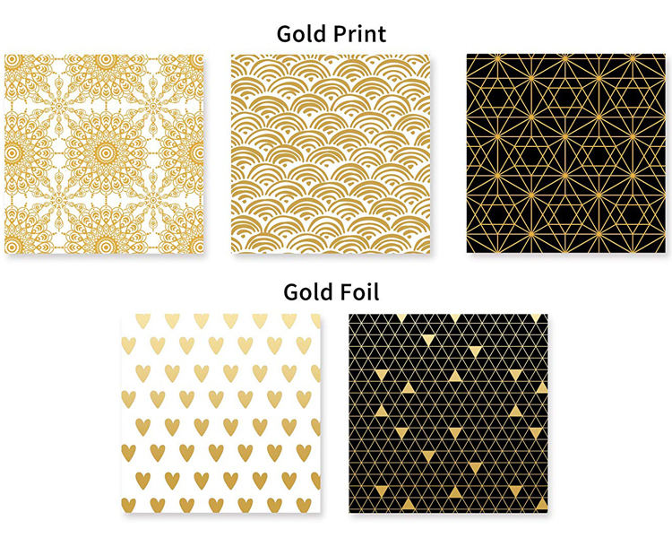 Printed Wrapping Paper HOT SALE Metallic Gold Foil Print Black And White Wrapping Gift Paper