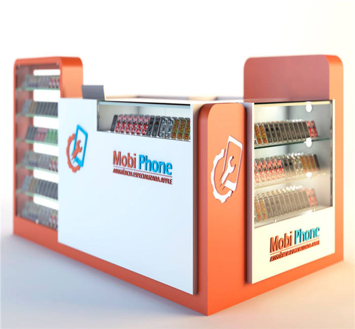 custom store display in mall phone accessory kiosk