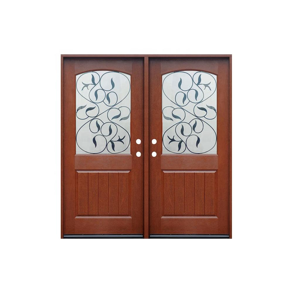New Design Mahogany Leather Double Front Door Hospital Made In China