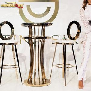 Wholesale bar furniture round glass top stainless steel high bar table