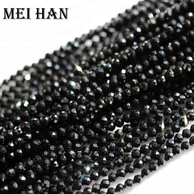 Wholesale natural minearl 2mm Black Spinel handmade faceted round seed semi-precious gemstone beads for jewelry making