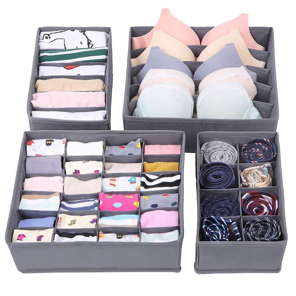 2019 Fashion Design 16 grid bra sock Non Woven 4 set drawer divider Underwear Organizer for Bedroom