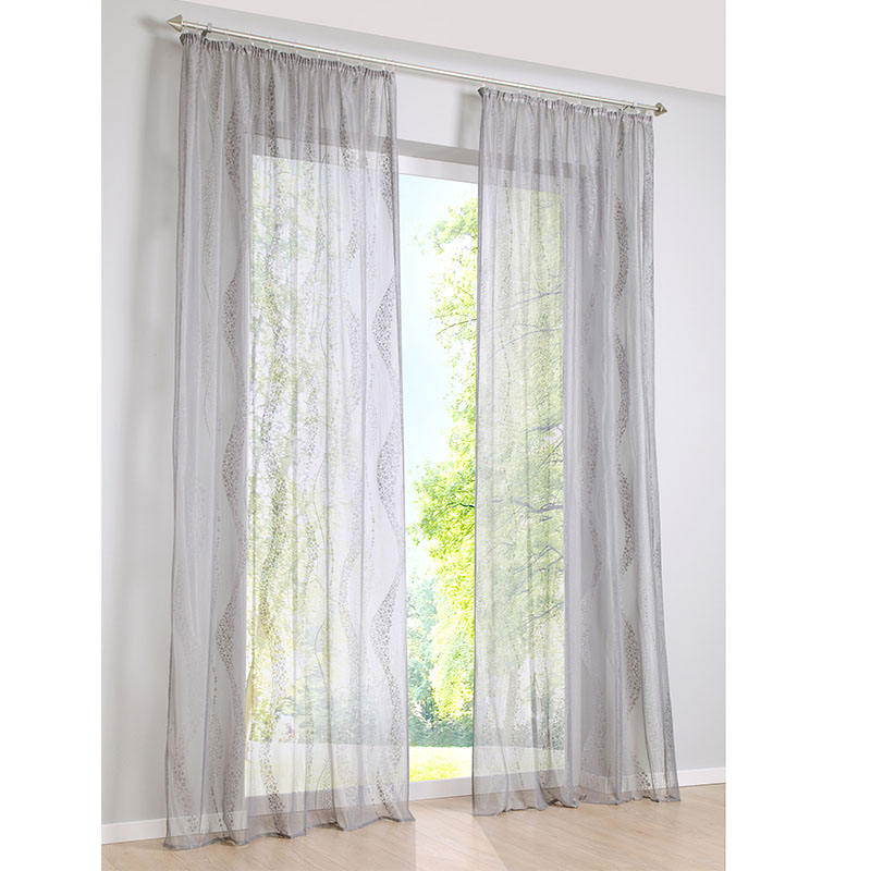 i@home Wholesale wave print design white knitted window curtains with eyelet or pencil pleat in white color for living room