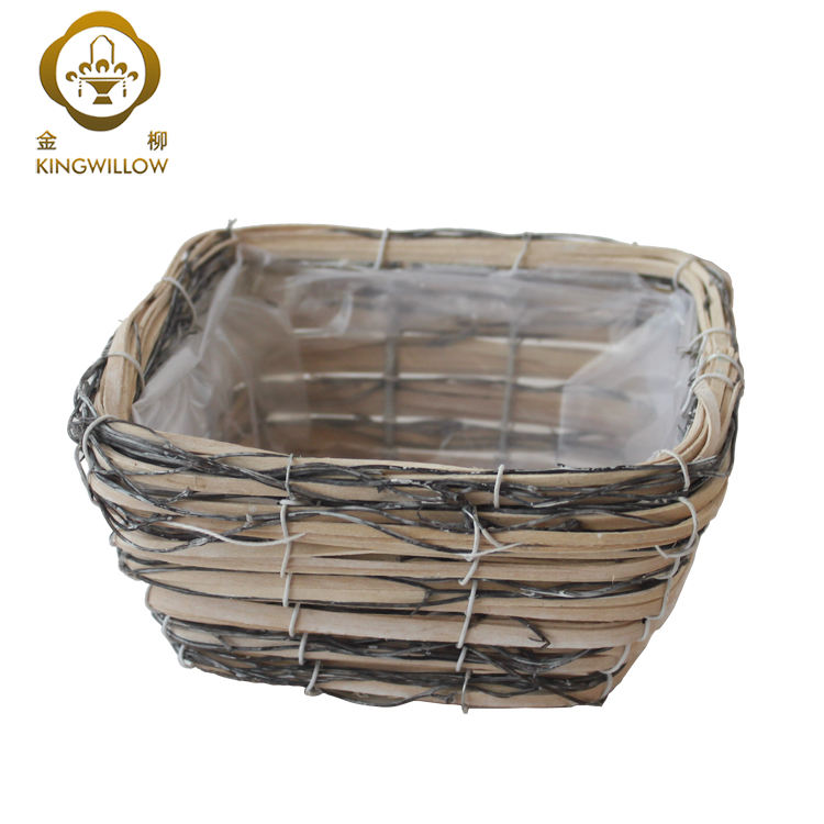Mini square customized willow flower wood chip garden pot with plastic liner for sale