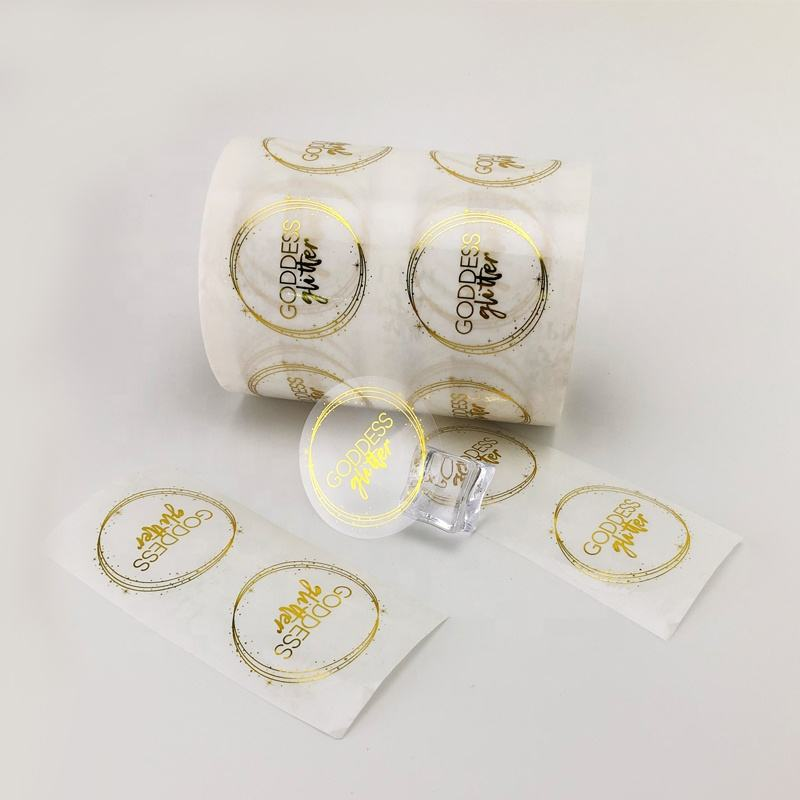 Custom Gold Foliedruk Clear Logo Gedrukt Transparante Cirkel Stickers Clear Ronde Sticker Afdrukken
