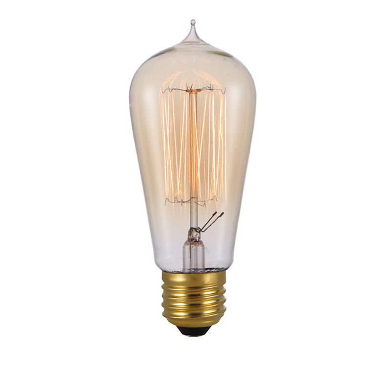 New style amber glass cover 40 watt ST64 ST58 led vintage edison lamps e27 Tungsten Light Bulbs