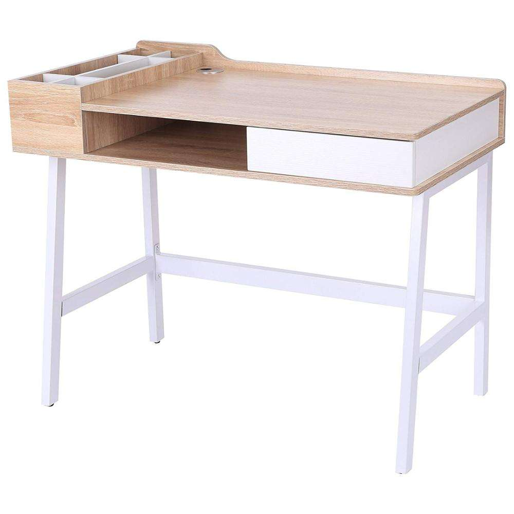 Computer Desk PC Workstation Laptop Table Storage Unit Metal Frame Oak and White