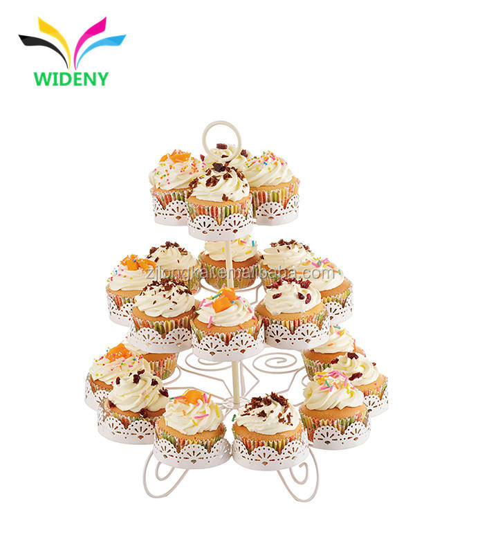 Rotating White 3 Tier Metal Cupcake Holder Wedding Cup Cake Stand