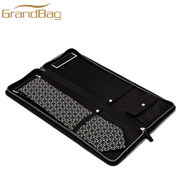 zipper genuine hidecow leather tie case business tie holder for travel custom saffiano / pebbled / nappa leather