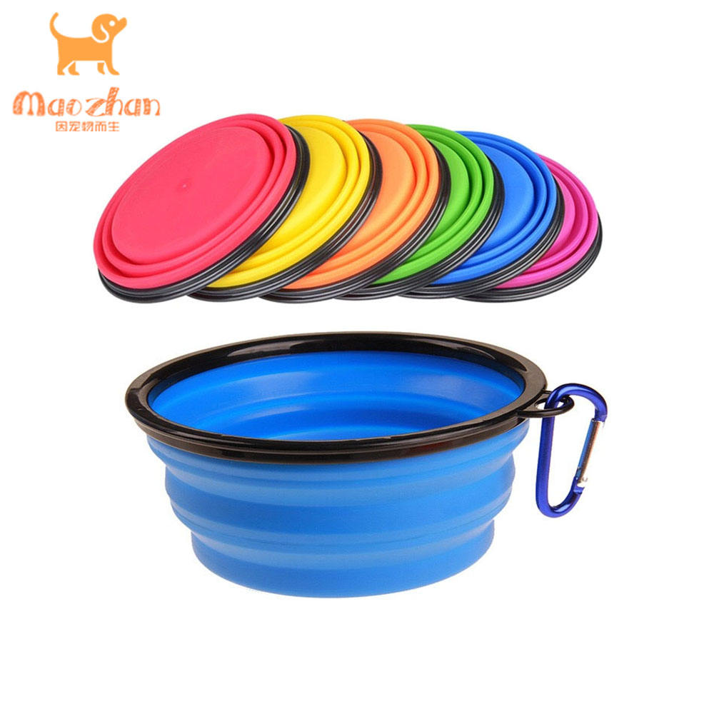 1000ml / 350 ml custom Logo Collapsible Silicone Foldable Travel Food Pet Dog Bowl