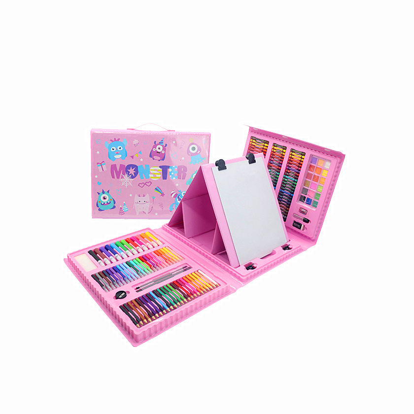 New Design Professional Drawing and Painting Art Set in Pink Plastic box for Kids