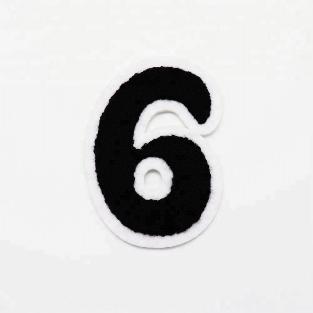 Garment accessories embroidery patch wholesale number 6 chenille patch