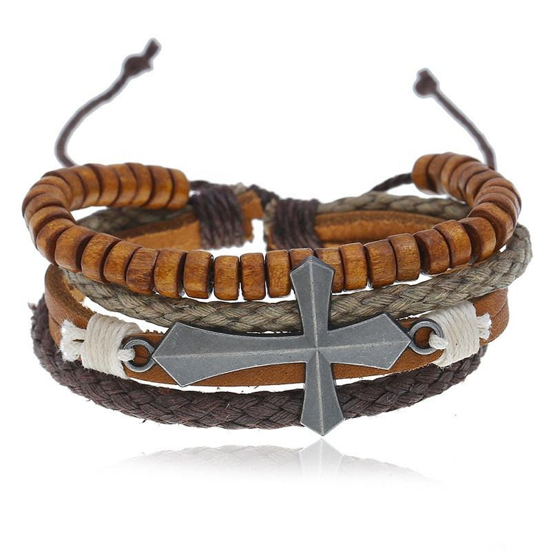 elastic retro stretch multilayer wood bead bracelet with cross