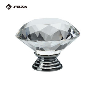 Diamond round bedroom furniture handles glass knobs crystal cabinet knob