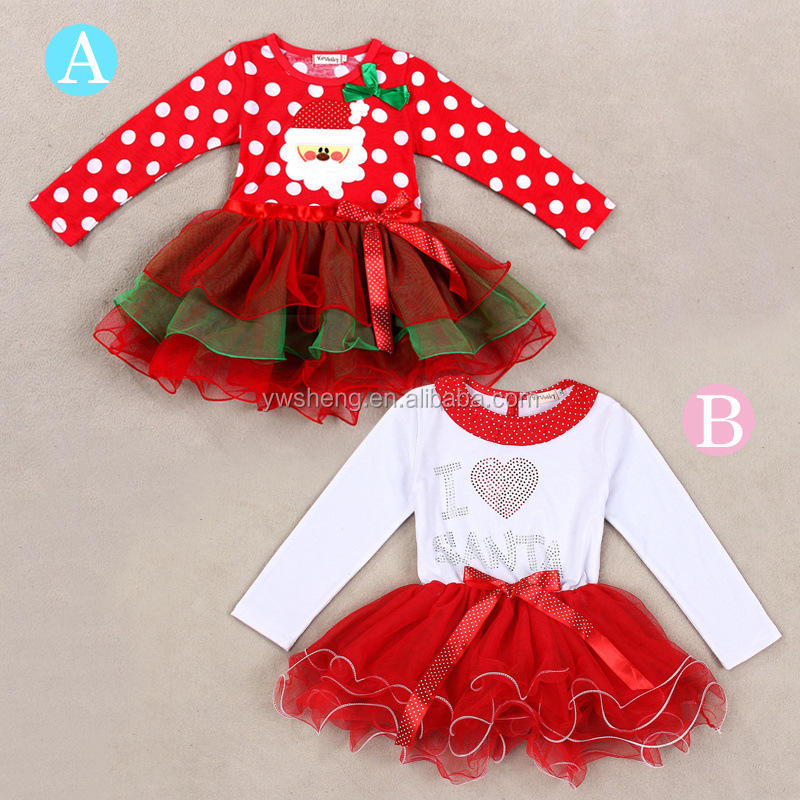 Printed [ Red Princess Dress ] 2015 Latest Christmas Baby Girl Red Infant Dot Print Tutu Princess Kids Dress For Toddler Girl Clothing