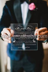 Professional supplier clear acrylic wedding invitation for sale