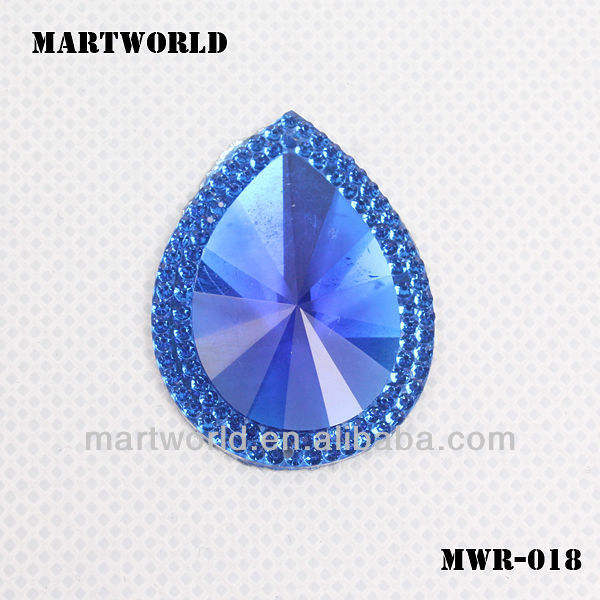noble royalblue crystal heart shape rhinestone decorate for lampshade(MWR-018)