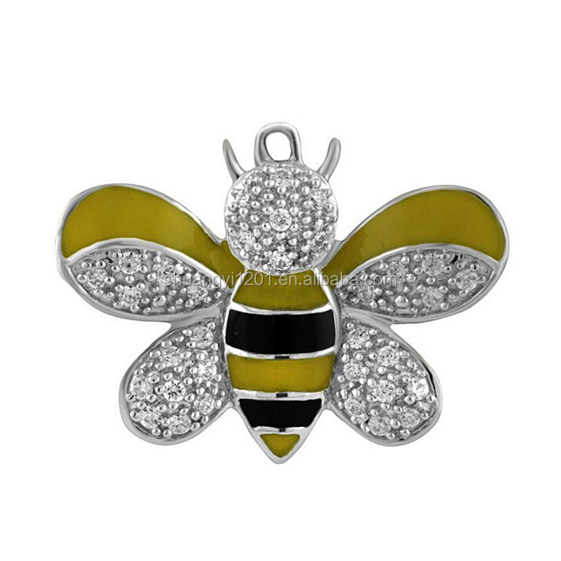 Black and yellow enamel crystal bumble bee pendant charms