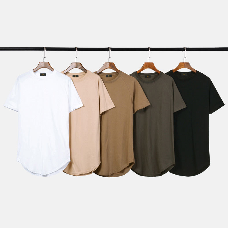 Wholesale mens curved hem t shirt new arrival scoop bottom t shirt