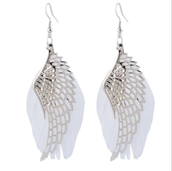 2018 Newest fashion earrings 보석 white angel wings feather 또 귀걸이랑 (high) 저 (품질 은 plating drop earring gift 대 한 women