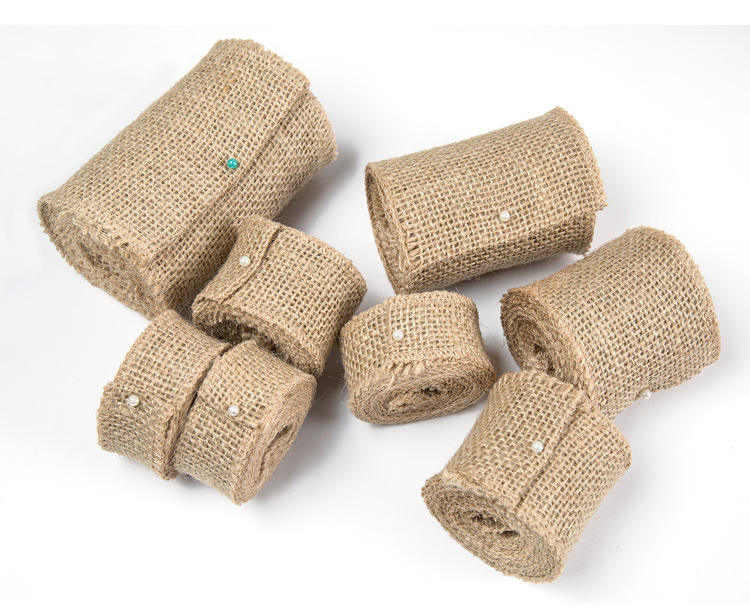 Natural Brown Ribbon Roll Burlap Ribbon Roll Linen Ribbon Rolls Gift Wrap Supplies for DIY Wedding Party Decorations