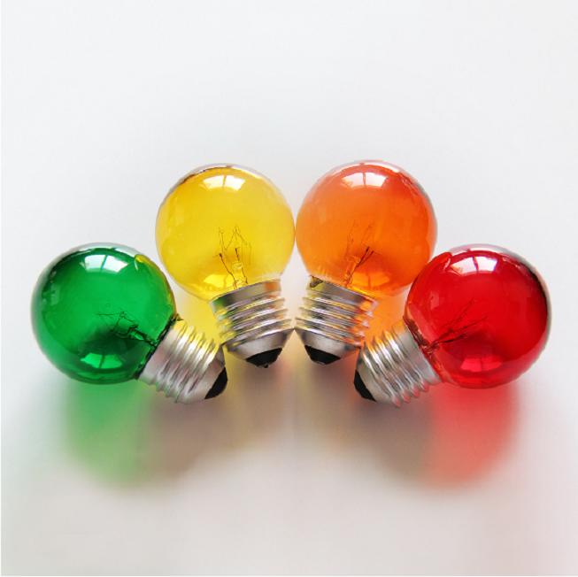 E14 E12 5 W 7 W 15 W bombillas incandescentes G40 G45 pequeño globo bulbo colorido rojo azul verde amarillo lámpara de cristal