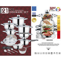New fashion 21pcs stainless steel cooking pot for home kitchen appliance