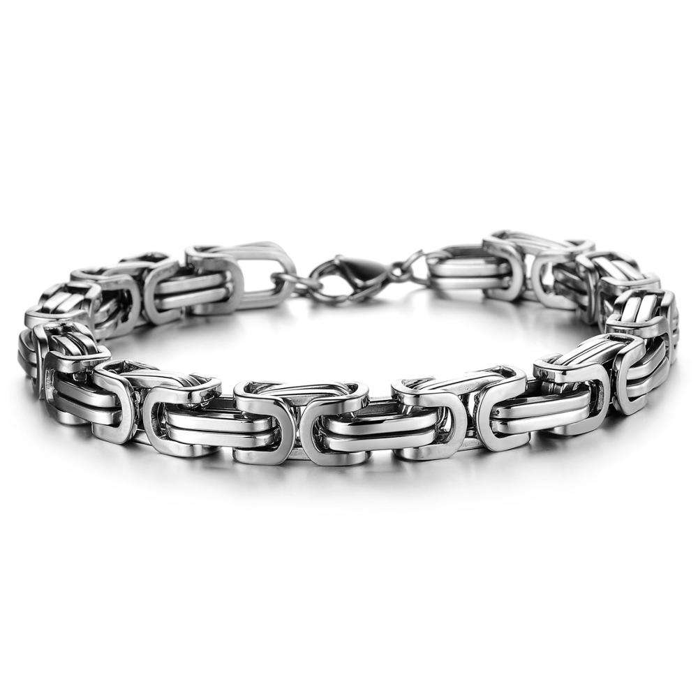 Mens Jewelry Stainless Steel Bracelet Gold Black Silver Byzantine Box Hand Chain For Men Bulk Bracelets And Bangles