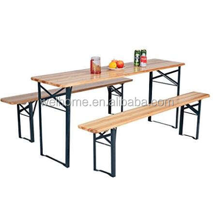 hotsale outdoor solid wood foldable picnic table and bench