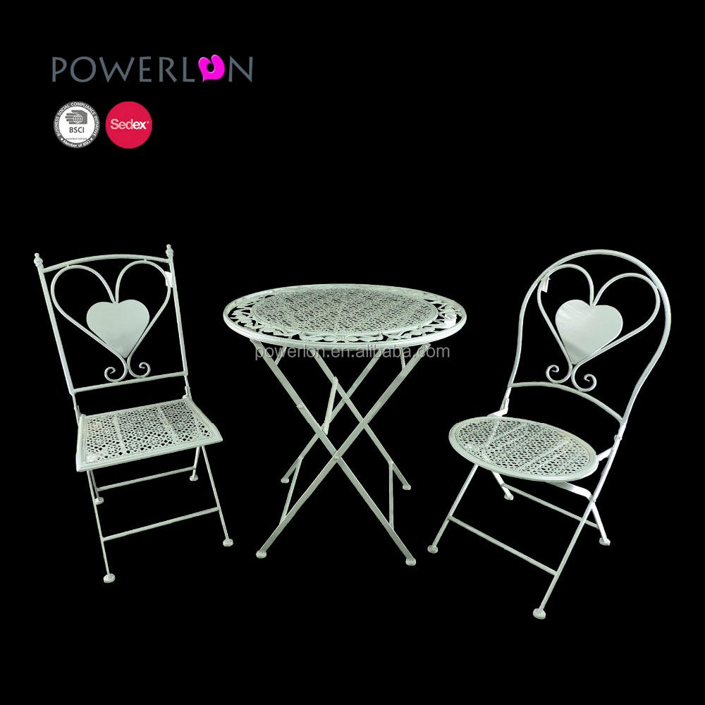 White Iron Dining Round Set Cafe Tables And Chairs For Indoor And Outdoor