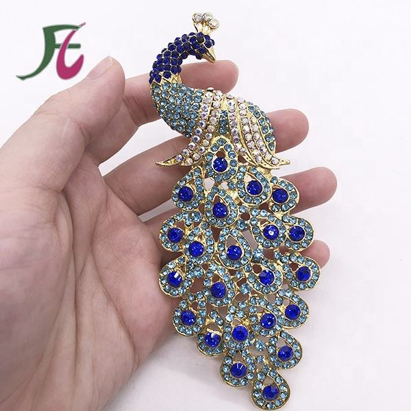 Peacock Shaped Rhinestone Brooches Peafowl Design blue crystal pin brooch in Guangzhou