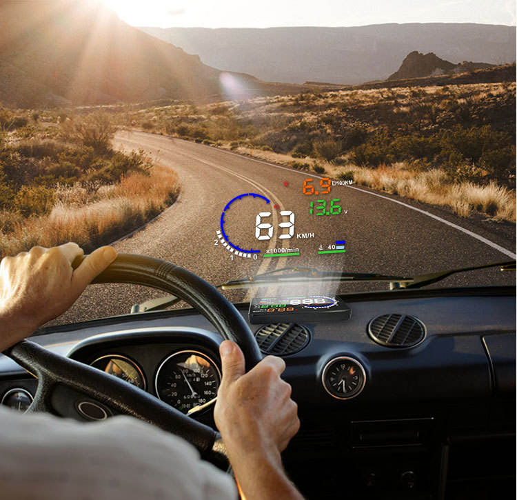 Auto HUD OBD Digitale Projector Kilometerstand Head-up Display Met Voertuig Snelheid/Spanning/Water temperatuur