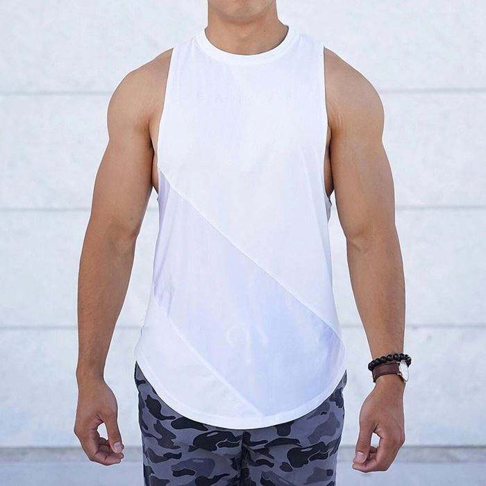 Personalizzato Mens Tank Top Gym Loose Fit Cut Stringer Canotte Muscolare