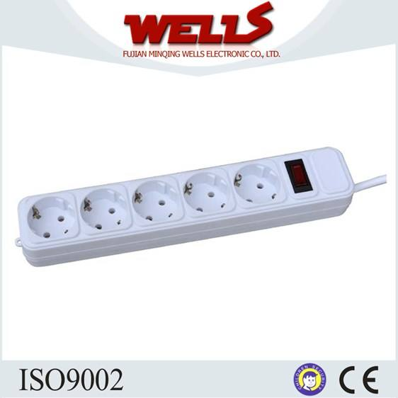 PP Shell Electrical Germany Surge Protector Power Strip, Power Outlet Extension Socket With Switch