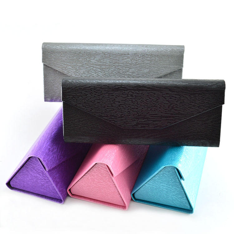 Custom folding sunglasses box portable triangle glasses protective cover sunglass case