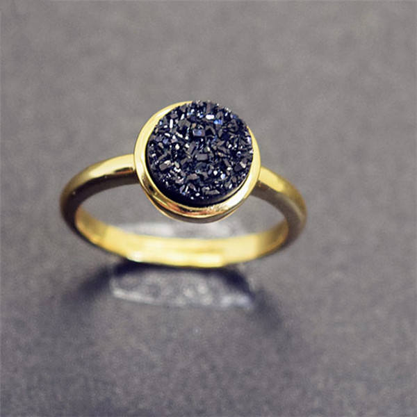 Bojiu Ring Gold Plated Druzy Natural Stone WomenFinger Ring