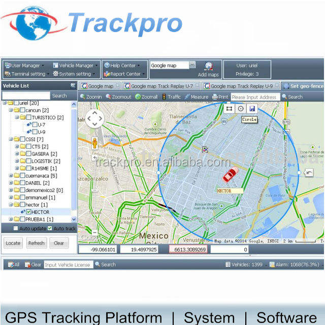 Fleet magagement GPS tracker software voor auto gps tracker TZONE avl05 Bangdao Dingtek A300