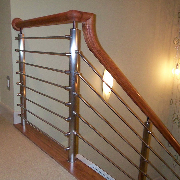 square post steel handrails for exterior stair steps