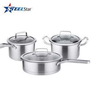 Hot selling Stainless Steel 6 Piece Cookware Sets Saucepan Stockpot Frying pan with Glass Lids Induction Compatible Skillet