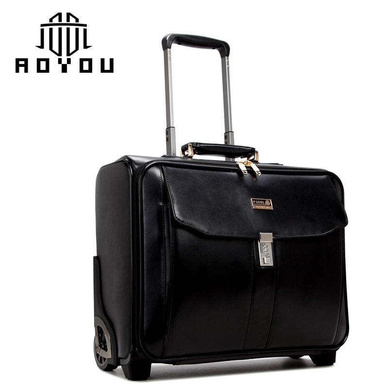 2019 new arrival spinner Casual Genuine Leather Carry-on Business leather luggage Suitcase Luggage