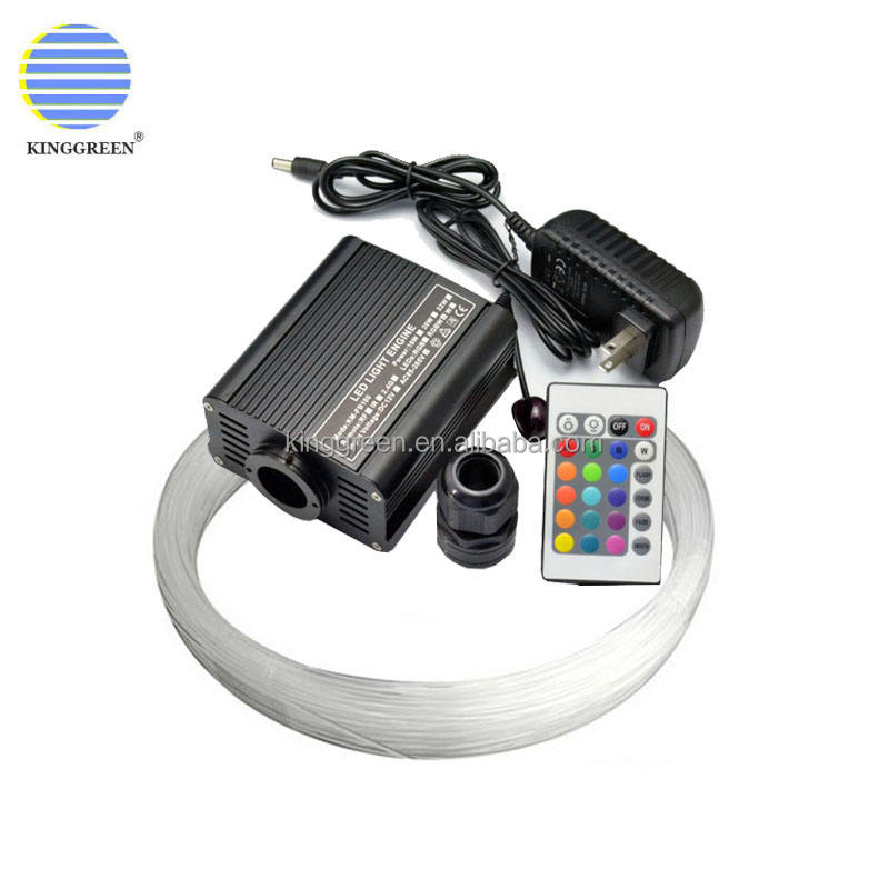 RGBW 16W fiber optic light engine with 24 key RF remote controller + 500PCS 0.75mm 2m end glow optical fiber cable