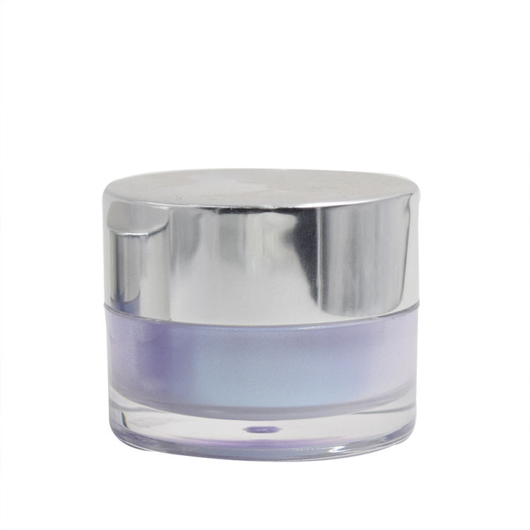 empty blue purple round 15g 30g 0.5oz 1oz acrylic plastic sample cream jar with silver cap