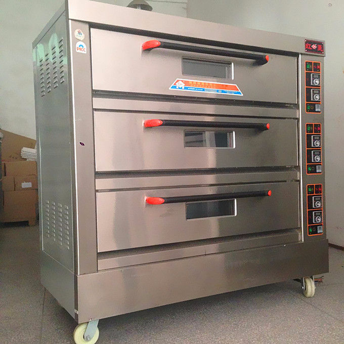 Industrial electric oven 3 deck 6 trays baking oven