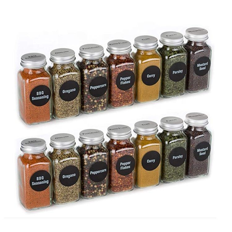 custom design 120ml 180ml 6oz empty seasoning packaging bottle 4oz square glass spice jar with shaker tops funnel label maker