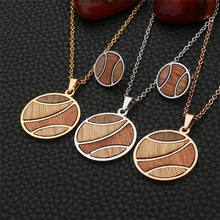 New Design Woman Jewelry Set Round Wood Necklace With Stud Wooden Earring