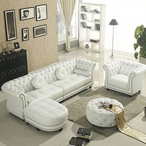 Modern Living Room Set White Leather Chesterfield Sofa