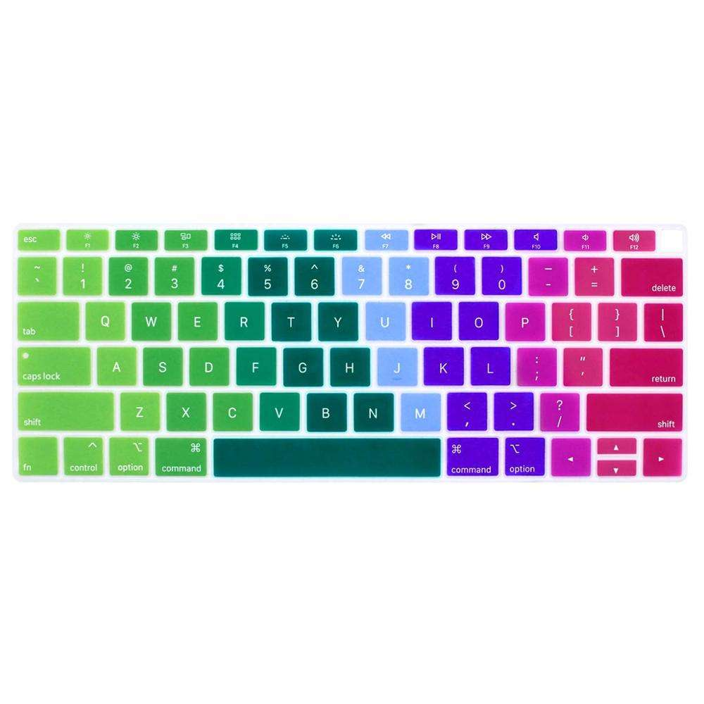 Colorful Laptop Waterproof Dustproof Silicon Rainbow design Keyboard cover For Macbook Air Pro Touchbar 13