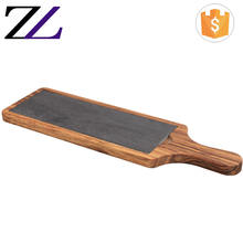 Guangzhou new buffet utensilios server cake display restaurant large rectangular serving sushi food marble slate wood platter